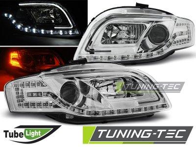 Фары передние Tube Light LED Chrome для Audi A4 B7