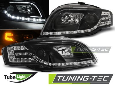 Фары передние Tube Light LED Black для Audi A4 B7