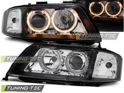 Фары передние Angel Eyes Black для Audi A6 C5