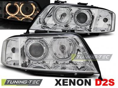 Фары передние Angel Eyes Chrome для Audi A6 C5 XENON