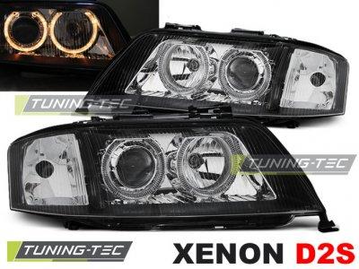 Фары передние Angel Eyes Black для Audi A6 C5 XENON