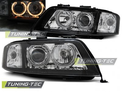 Фары передние Angel Eyes Black для Audi A6 C5 рестайл