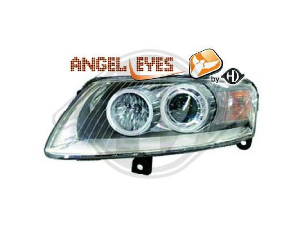 Фары передние HD Angel Eyes Chrome для Audi A6 C6