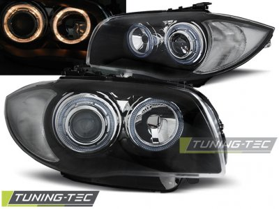 Фары передние Tuning-Tec Angel Eyes Black для BMW 1 E87 / E81