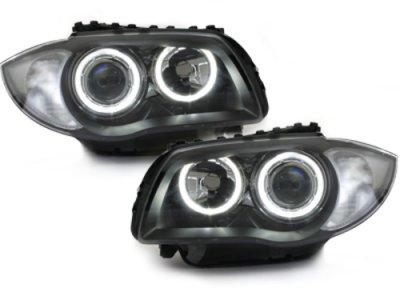 Фары передние Neon Angel Eyes Black для BMW 1 E87