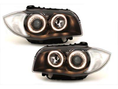 Фары передние Angel Eyes V2 Black для BMW 1 E87