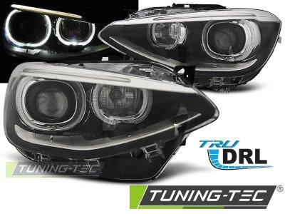Фары передние LED Angel Eyes Black для BMW 1 F20 / F21