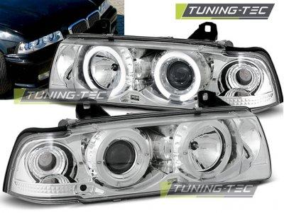 Фары передние Angel Eyes Chrome для BMW 3 E36 Limousine / Touring