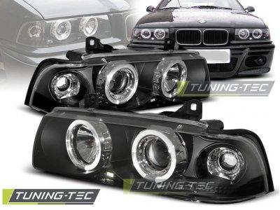 Фары передние Angel Eyes Black для BMW 3 E36 Limousine / Touring