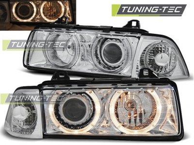 Фары передние Angel Eyes Chrome Var2 для BMW 3 E36 Limousine / Touring