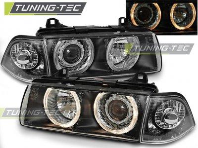 Передняя альтернативная оптика Angel Eyes Black Var2 для BMW 3 E36 Limousine / Touring