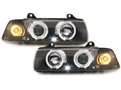 Фары передние Angel Eyes LED Black для BMW 3 E36 Coupe / Cabrio