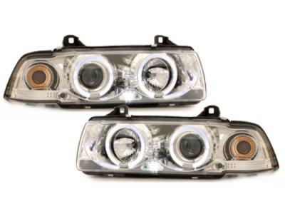 Фары передние Angel Eyes LED Chrome для BMW 3 E36 Sedan