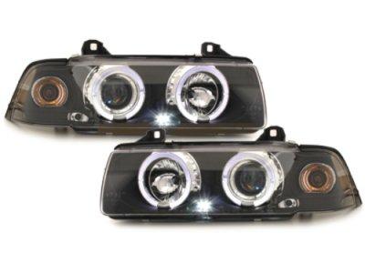 Фары передние Angel Eyes LED Black для BMW 3 E36 Sedan