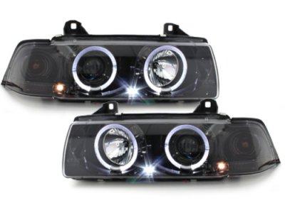 Фары передние Angel Eyes LED Black Chrome для BMW 3 E36 Sedan