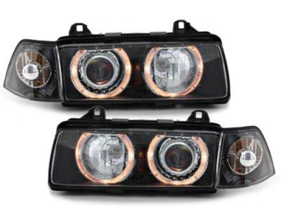 Фары передние Angel Eyes Black для BMW 3 E36 Sedan / Touring