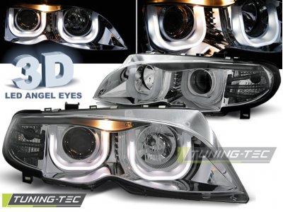 Фары передние Angel Eyes Chrome 3D для BMW 3 E46 Sedan рестайл
