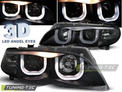 Фары передние Angel Eyes Black 3D для BMW 3 E46 Sedan рестайл
