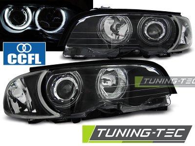 Фары передние CCFL Angel Eyes LED Black для BMW 3 E46 Coupe / Cabrio