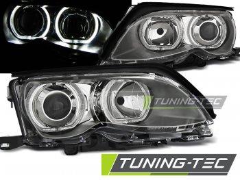 Фары передние LED Angel Eyes Chrome без поворота Var2 для BMW 3 E46 Sedan рестайл