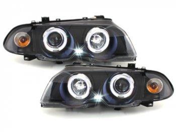 Фары передние Angel Eyes LED Black для BMW 3 E46 Sedan