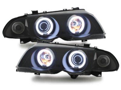 Фары передние CCFL Angel Eyes LED Black для BMW 3 E46 Sedan