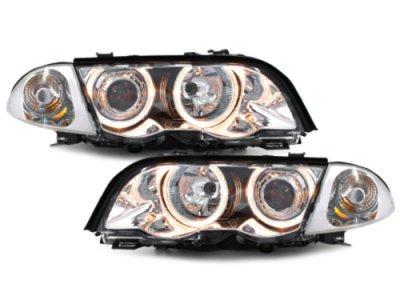 Фары передние Angel Eyes Chrome для BMW 3 E46 Sedan
