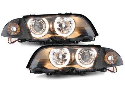 Фары передние Angel Eyes Black для BMW 3 E46 Sedan