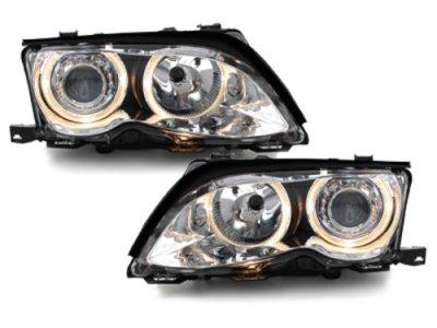 Фары передние Angel Eyes Chrome без поворота для BMW 3 E46 Sedan рестайл