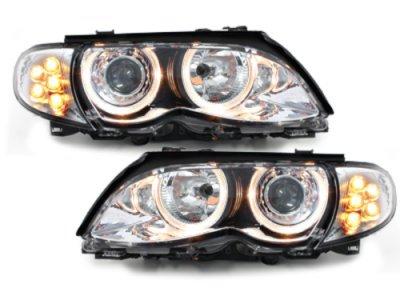 Фары передние Angel Eyes Chrome с LED поворотниками для BMW 3 E46 Sedan рестайл
