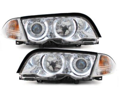 Фары передние Angel Eyes LED Chrome раздельные для BMW 3 E46 Sedan