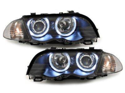 Фары передние Angel Eyes LED Black раздельные для BMW 3 E46 Sedan