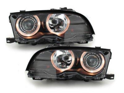 Фары передние Angel Eyes Black без поворота для BMW 3 E46 Coupe / Cabrio рестайл