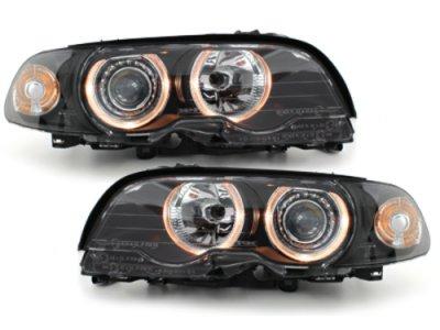 Фары передние Angel Eyes Black для BMW 3 E46 Coupe / Cabrio