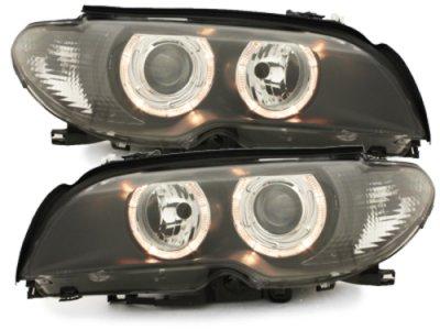 Фары передние Angel Eyes Black для BMW 3 E46 Coupe / Cabrio рестайл