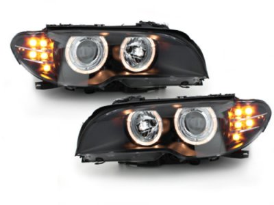 Фары передние Angel Eyes Black с LED поворотниками для BMW 3 E46 Coupe / Cabrio рестайл