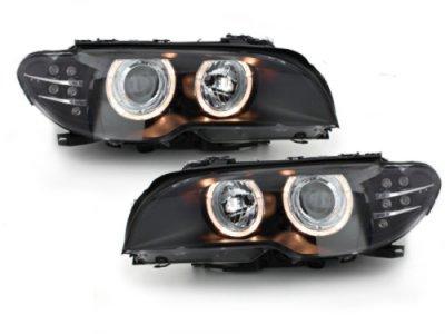 Фары передние Angel Eyes Black с LED поворотниками для BMW 3 E46 Coupe / Cabrio рестайл XENON