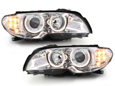 Фары передние Angel Eyes Chrome с LED поворотниками для BMW 3 E46 Coupe / Cabrio рестайл