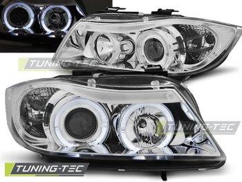 Фары передние Angel Eyes Chrome Var2 от Tuning-Tec для BMW 3 E90