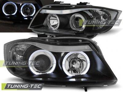 Фары передние Angel Eyes Black Var2 от Tuning-Tec для BMW 3 E90