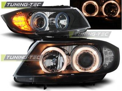 Фары передние Angel Eyes Black LED от Tuning-Tec для BMW 3 E90
