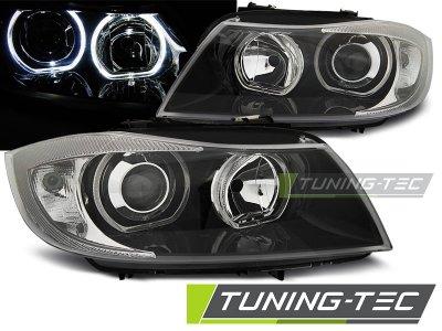 Фары передние F-Style Angel Eyes Black для BMW 3 E90