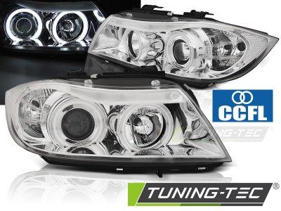 Фары передние CCFL Angel Eyes Chrome от Tuning-Tec для BMW 3 E90