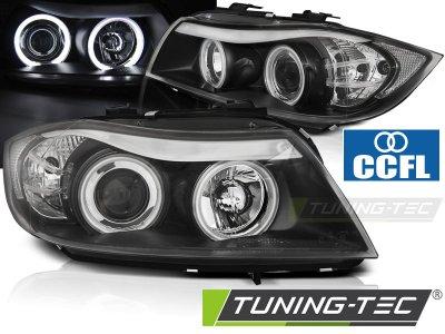 Фары передние CCFL Angel Eyes Black от Tuning-Tec для BMW 3 E90