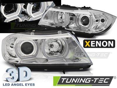 Фары передние 3D Angel Eyes Chrome от Tuning-Tec для BMW 3 E90 XENON
