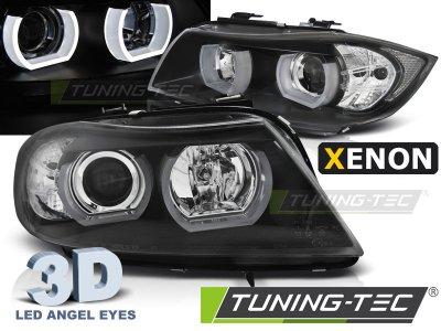 Фары передние 3D Angel Eyes Black от Tuning-Tec для BMW 3 E90 XENON