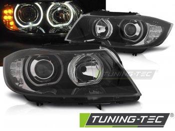 Фары передние F-Style Angel Eyes LED Black для BMW 3 E90