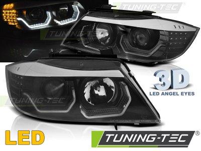 Фары передние 3D Angel Eyes LED Black от Tuning-Tec для BMW 3 E90