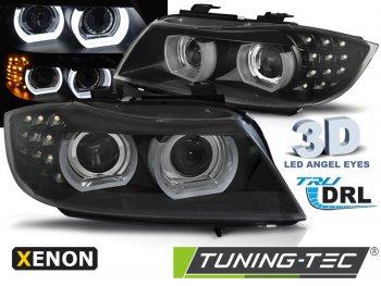 Передние фары с 3D ангельскими глазками для BMW 3 E90 XENON рестайл
