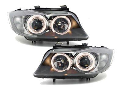 Фары передние Angel Eyes Black для BMW 3 E90